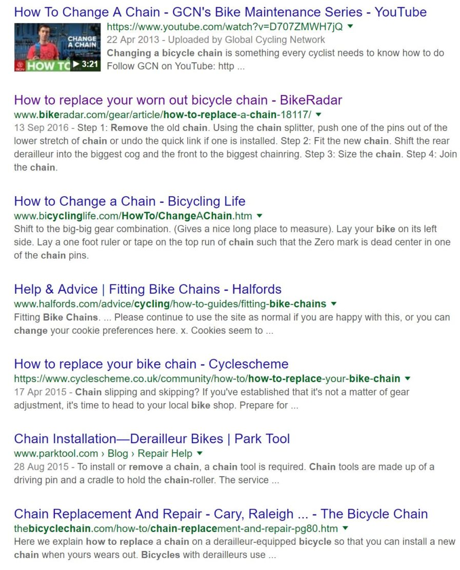 change a bike chain
