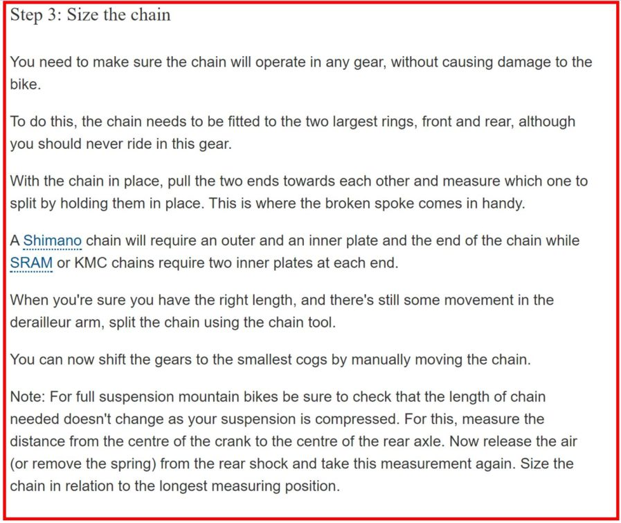 size the chain