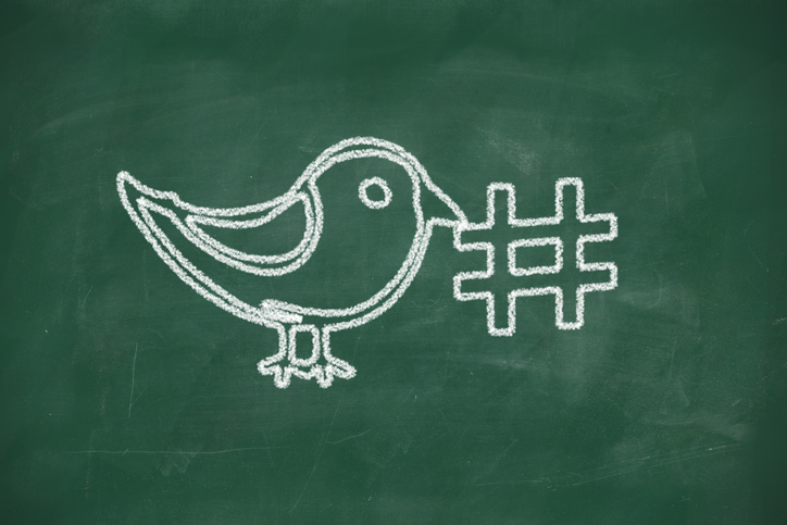 A white chalk drawing of a bird holding a hashtag, set against a green chalkboard backdrop.