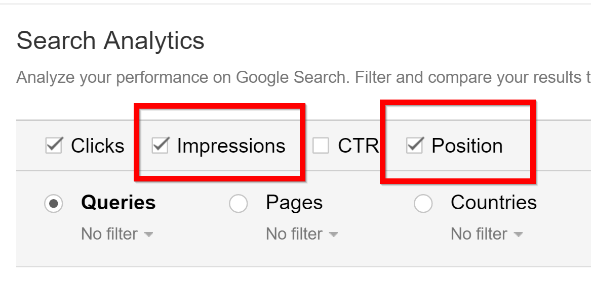 position in google search console