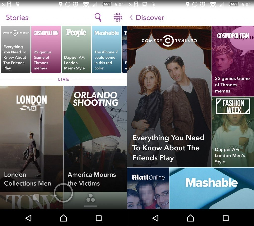 Two side-by-side screenshots showing the new, more visual, Snapchat Discover, with large picture thumbnails of Discover stories overlaid with text.