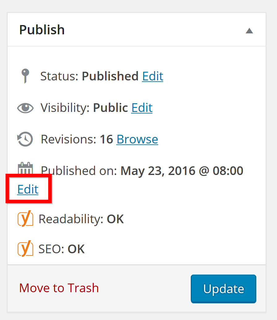wordpress published date