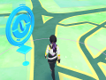 A screencap from Pokemon Go of a player walking past a Pokestop.