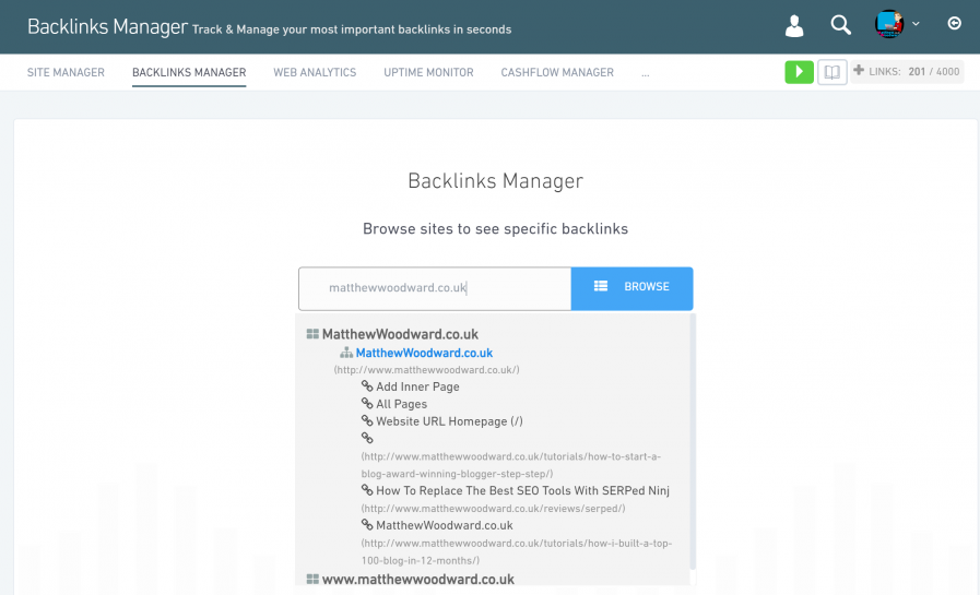 backlinks manager page