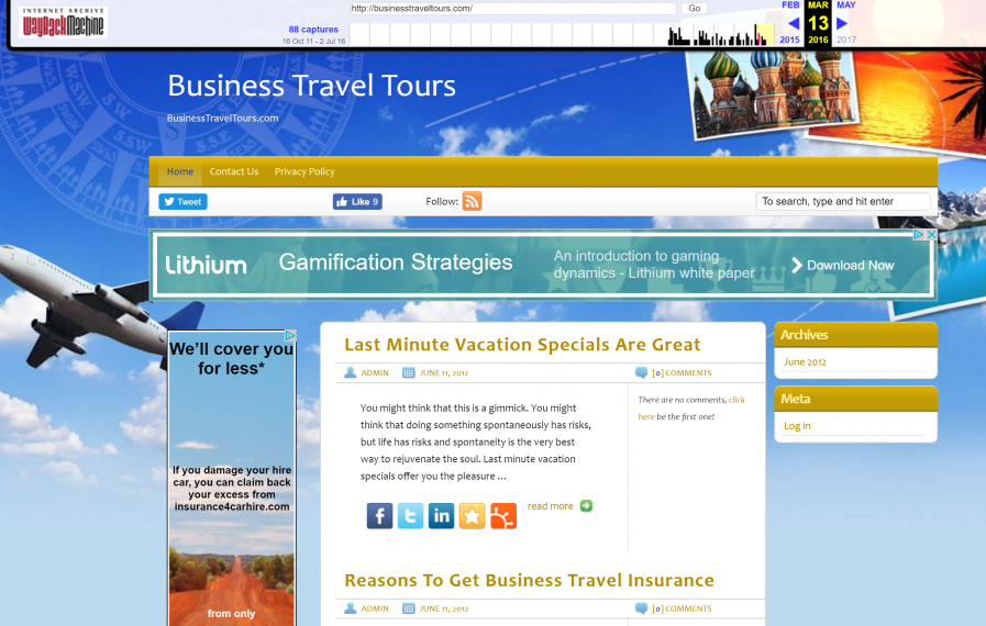 business travel tours wayback screenshot