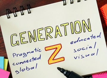 A notepad with GENERATION Z written in the middle, with six traits listed around it: pragmatic, connected, global, educated, social and visual.